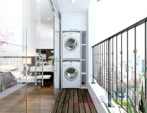 Gới ý bài trí máy giặt tại ban công đơn giản